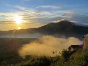 Mt Agung at Sunrise from summit of Mt Batur.